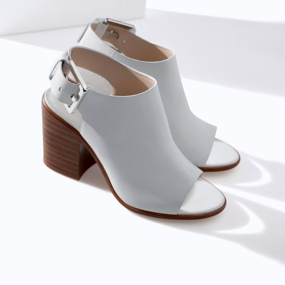 LEATHER BLOCK HEEL ANKLE BOOT STYLE SANDAL from Zara