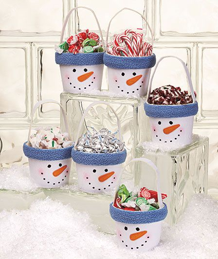 Cute holiday gift idea- these would be easy to make with flower pots or a tin/pail, paint and fleece to go around rim. You could even put the person or family's name around the rim if you desire!