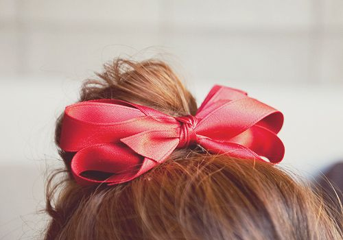 Red Ribbon Bow Hair Clips