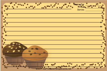This Brown Chocolate Chip Muffins Recipe Card features a couple of tasty chocolate chip muffins with a brown border. Free to download and print