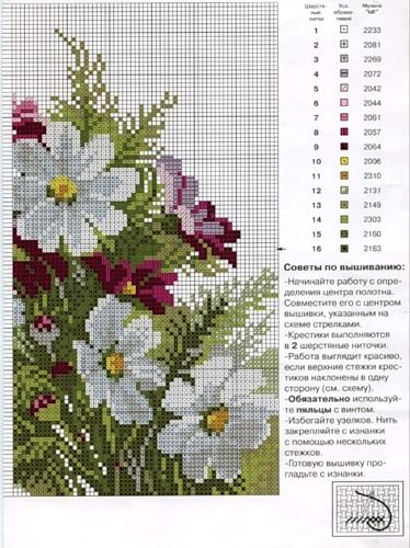 Bouquet of flowers cross stitch continued pattern and color chart (page 2).