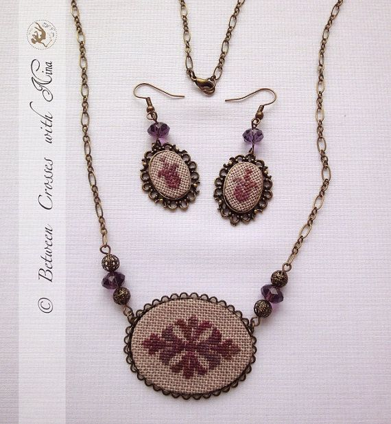 Vintage purple lilac cross stitched jewel set by NinaNinocska