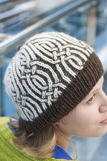 This little hat demonstrates yet another interesting thread manipulation that works well with brioche knitting. It's quick to knit and opens up lots of design possibilities. I will be putting up a photo of the matching mittens that I made to go with the blue hat (when I find them somewhere in my house!)