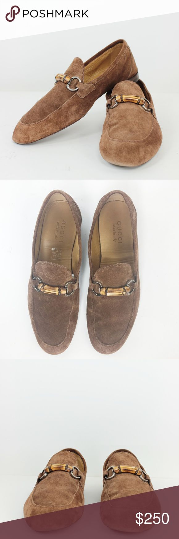"""Gucci Suede Bamboo Horsebit Loafers Shoes 7.5 VGC Gucci Men's Shoes Queen Suede Tan Brown Slip On Loafers Signature Bamboo Wooden Accent Silver Bit. Padded Insole. English Heel. Casual Formal Everyday Driving 100% AUTHENTIC Retails $650 Size: 7 UK 7.5 US 41 IT Heel Height: 0.75"""" Closure: Slip On Upper: Suede Lining / Sole: Leather Country: Italy Style #: 368435 Condition: Pre-Owned Very Good Used Condition, normal everyday wear, but shoes have been taken well care for. WT: 2.5 SKU: MA016; 20…"""