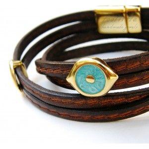 Dark Brown Double-Wrap Eyes Toolittle Bracelet #leather bracelet
