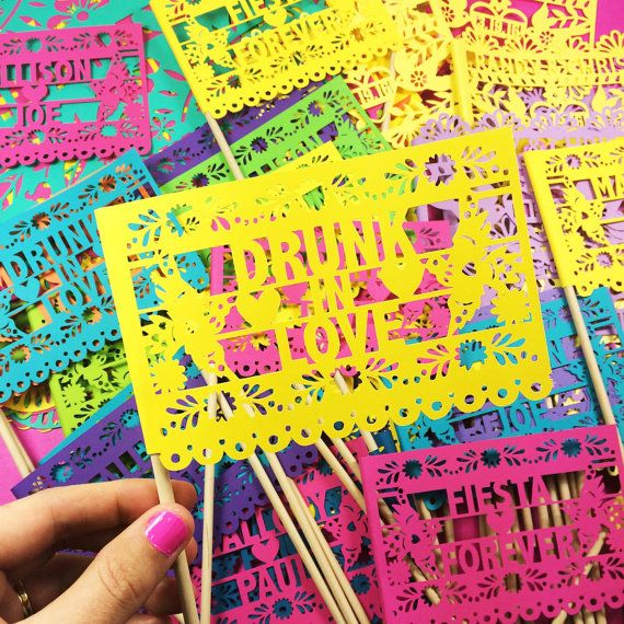 Papel Picado Mexican Wedding Flags Customized Banners by LulaFlora