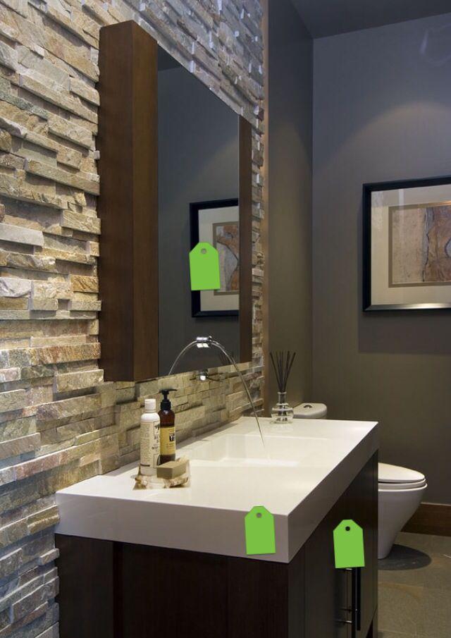 Ba o de visitas con pared con textura ba o de visita - Paredes para banos ...