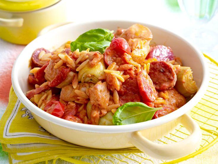 Hähnchen-Tomaten-Pfanne mit Salami