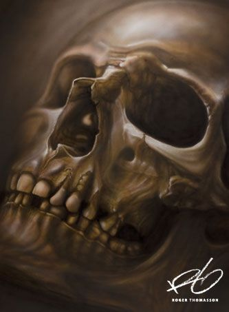"""Skull"" Airbrush painting.  Acrylics on illustration board. Originalsize: 50x70 cm (approx. 20x27,5 inches.) © 2013 Roger Thomasson"