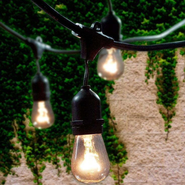 Outdoor String Lights 15 Hanging Sockets 48 Ft Black Weatherproof Cord Strand