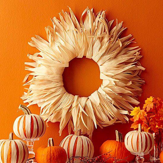 Rim a wreath with cornhusks to mimic the golden autumn sun: http://www.bhg.com/thanksgiving/outdoor-decorations/holiday-wreaths/?socsrc=bhgpin092814cornhuskwreath&page=15