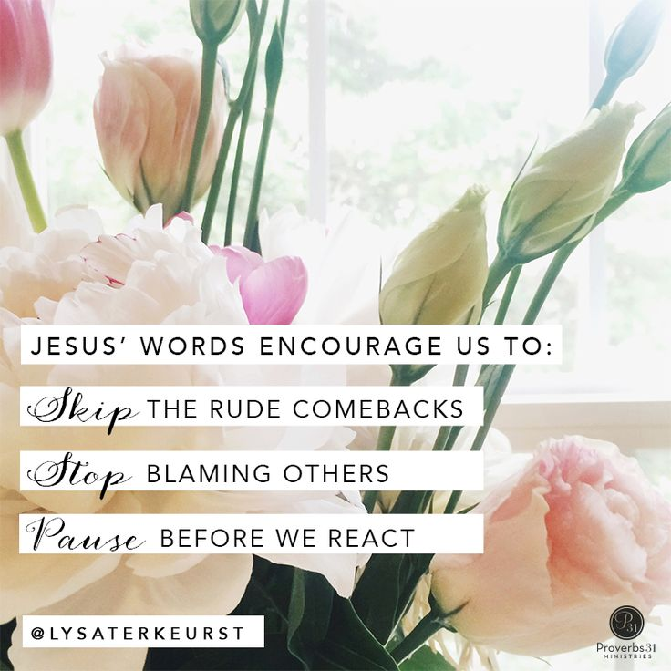 """Jesus' words encourage us to: Skip the rude comebacks. Stop blaming others. Pause before we react."" - Lysa TerKeurst 