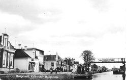 Hoogezand, 1960. Schoenenhandel Ronde (witte huis links)
