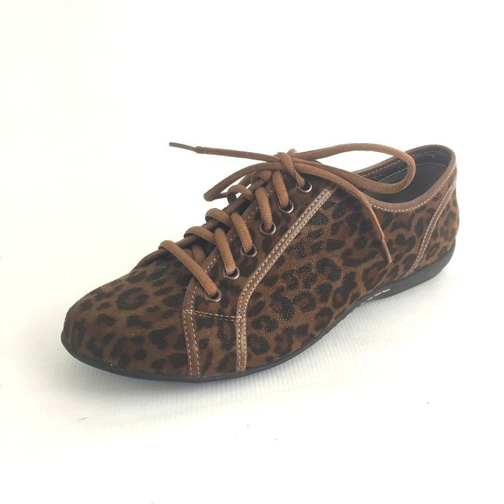 Nicole Size 9.5 Women Animal Print Lace up Sneaker Leopard Print Athleisure #Nicole #Trainers
