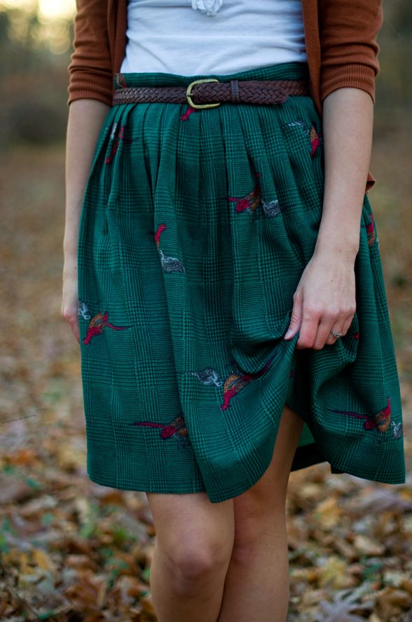 Fine and Feathered autumn fall fashion green skirt embroidery brown cardigan