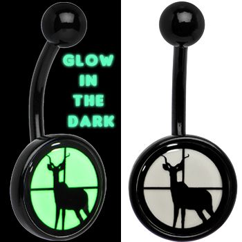 Black Titanium Deer in Crosshairs Glow in the Dark Belly Ring