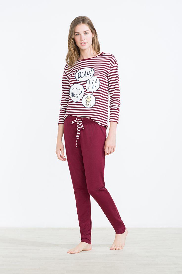Women´secret - Pijama largo Snoopy y Emilio de rayas