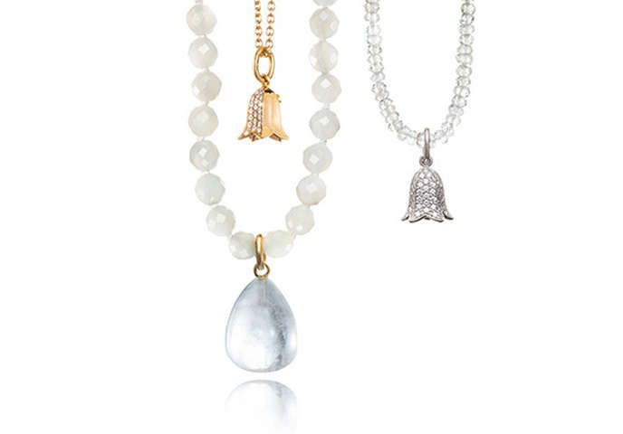 Pearl gemstone necklaces and pendants