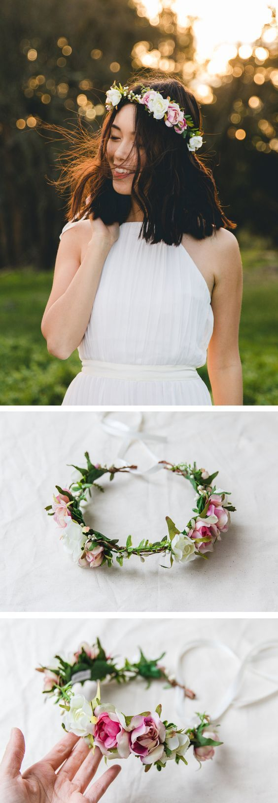 blossom and forest bridal wedding flower crown