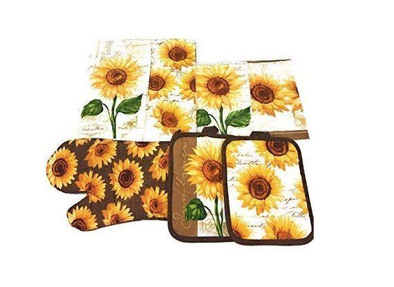 Sunflower Kitchen Set Includes 2 Kitchen Towels 2 Pot Holders 1 Oven Mitt 2 Dishcloths In 2020 Sunflower Kitchen Decor Sunflower Kitchen Sunflower Home Decor