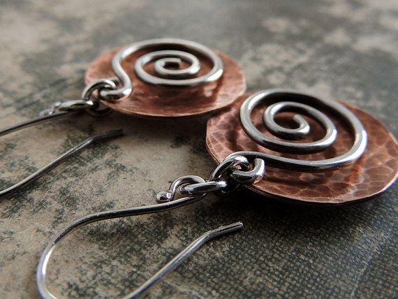 Orecchini gioielli di metallo misto rame a di ATwistOfWhimsy