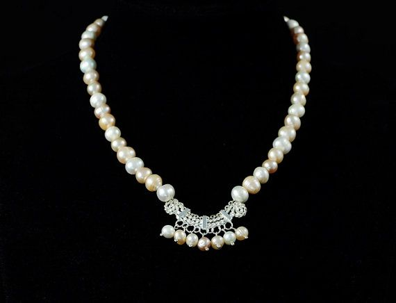 Multicolor Silver Pearl Necklace. White, Light pink, Light Orange Pearl Necklace. Perfect Mother's day Gift. Canada Free Shipping.