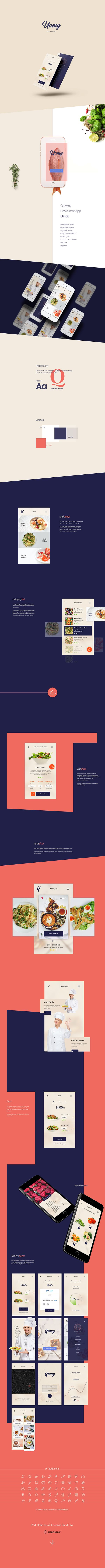 Professional restaurant ui kit in photoshop .psd format which you can download and customize for your app design and website design projects.