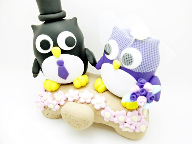 Décorations de mariage, Wedding Cake Topper bride and groom Owls est une création orginale de zwergschmuck sur DaWanda