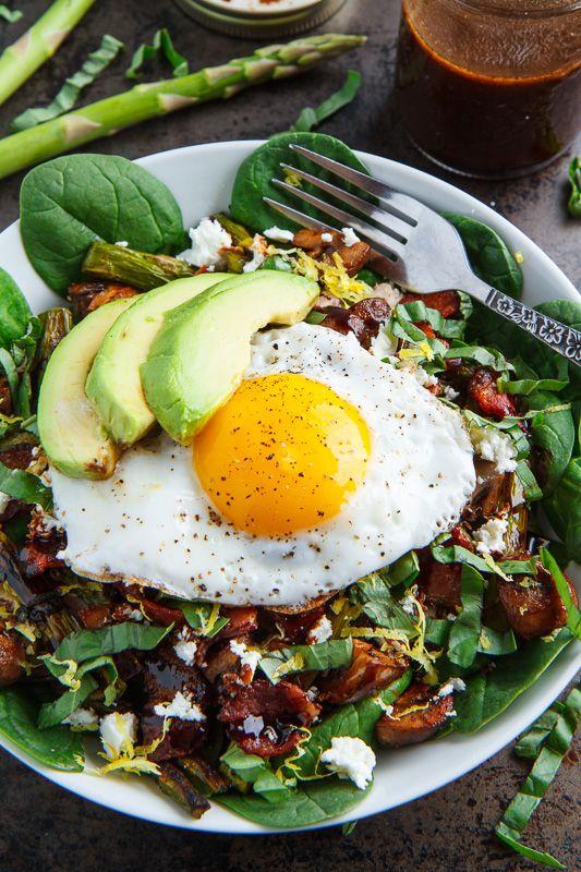 Roast Asparagus and Mushroom Chicken Spinach Salad with Bacon, Avocado ...