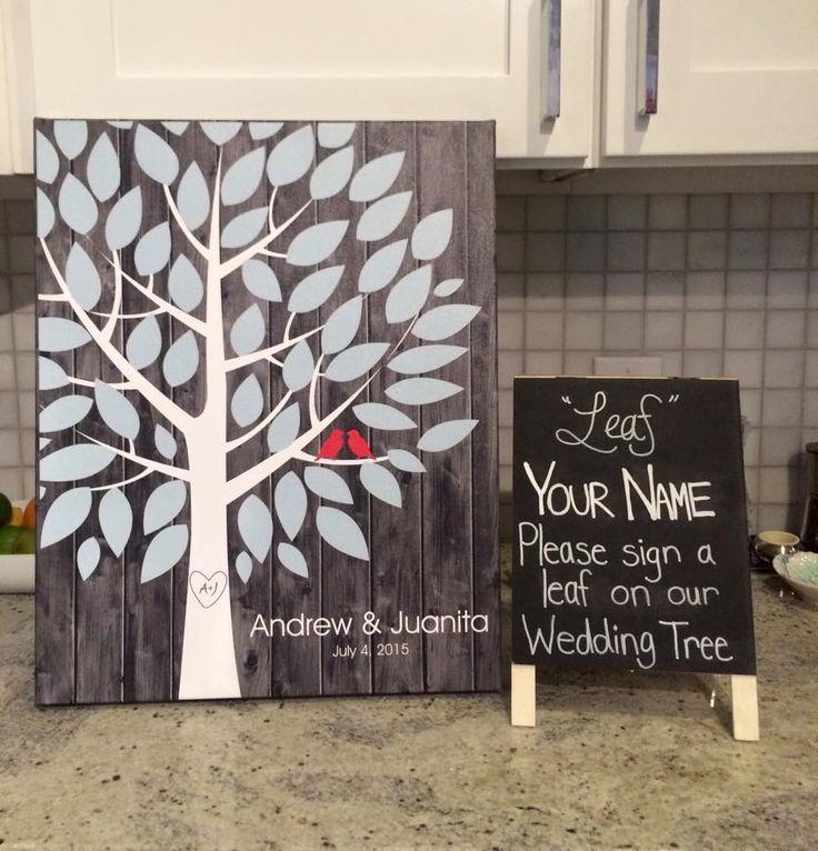 Darkwood Wedding Tree Canvas | Guest Book Alternative | Rustic Wedding | Customer Photo | Wedding Color - Light Blue & Red | peachwik.com