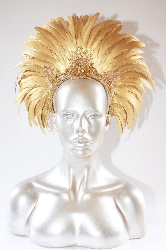 READYTOSHIP BURNING MAN  Tribal Gold feather by StraightLacedSF, $265.00