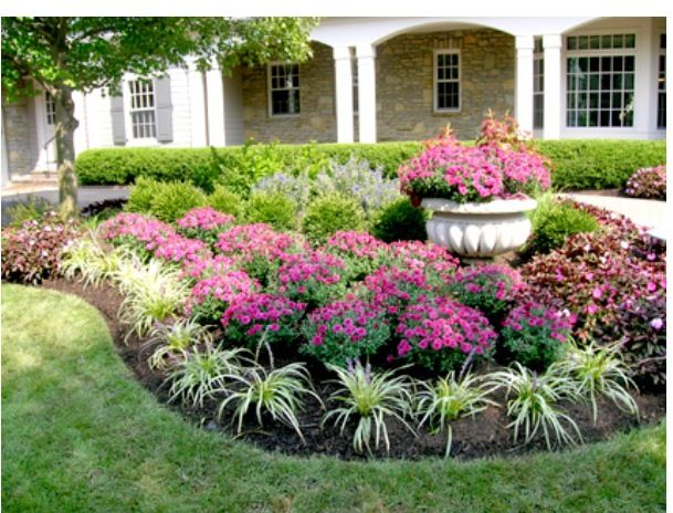 Flower garden landscapes flower beds pinterest for Flower designs for yards