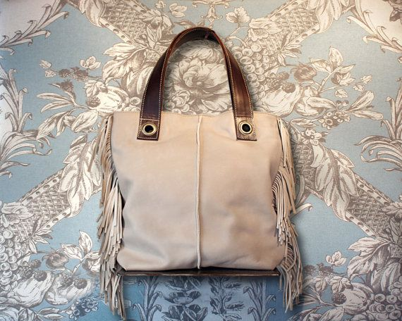 Tote bag ivory leather tote fringes tote purse leather by Percibal