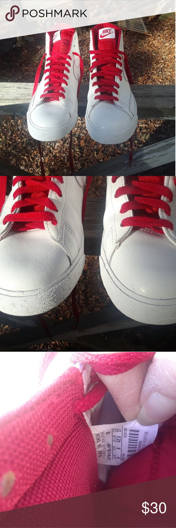 Nike Blaze SP Men's Shoe's size 9 This is a used pair of Nike Blaze SP Men's Shoe's size 9, #379416-100,they are white and red leather high top Shoe's, there is scuff marks on both Shoe's on the toes.there are no holes or tears on either shoe. Please view the pictures and if you have any questions please ask. Nike Blaze SP Shoes Sneakers
