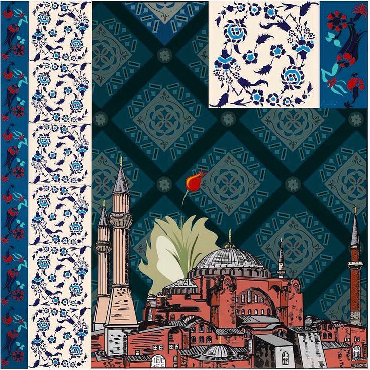 İllüstration Ottoman arts  Ebru, Çini, Hagia Sophia