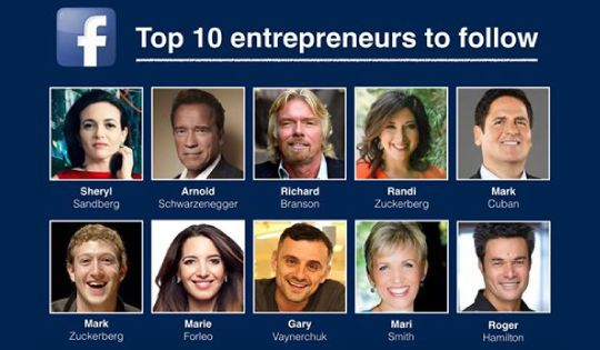 Top 10 entrepreneurs to follow on Facebook.