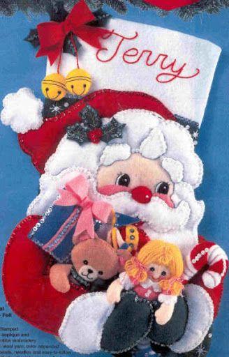 (●̮̮̃•̃) Bota Santa Claus (BUCILLA) (con Moldes) ❀◕‿◕❀