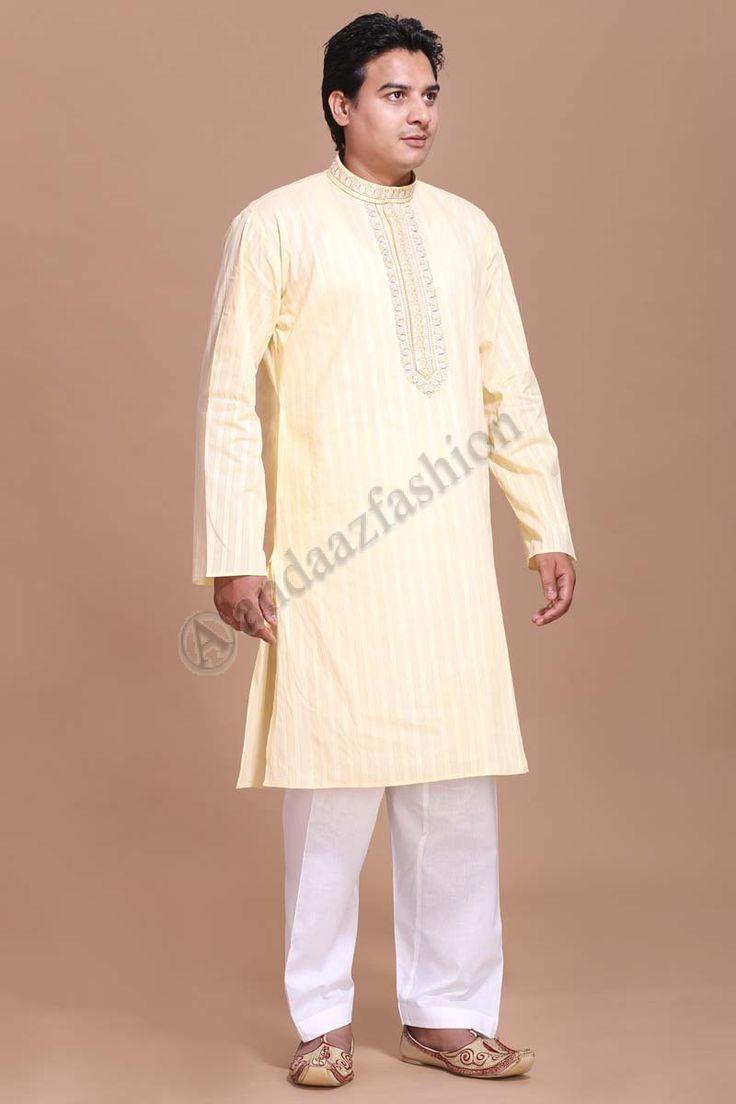 Cream Cotton Mens Kurta with Churidar Design No. 5081 Price- £15.95 Dress Type: Mens Kurta Set Fabric:Cotton Colour:Cream For More Information- http://www.andaazfashion.co.uk/men/kurta-pajama/cream-cotton-mens-kurta-with-churidar-5081.html