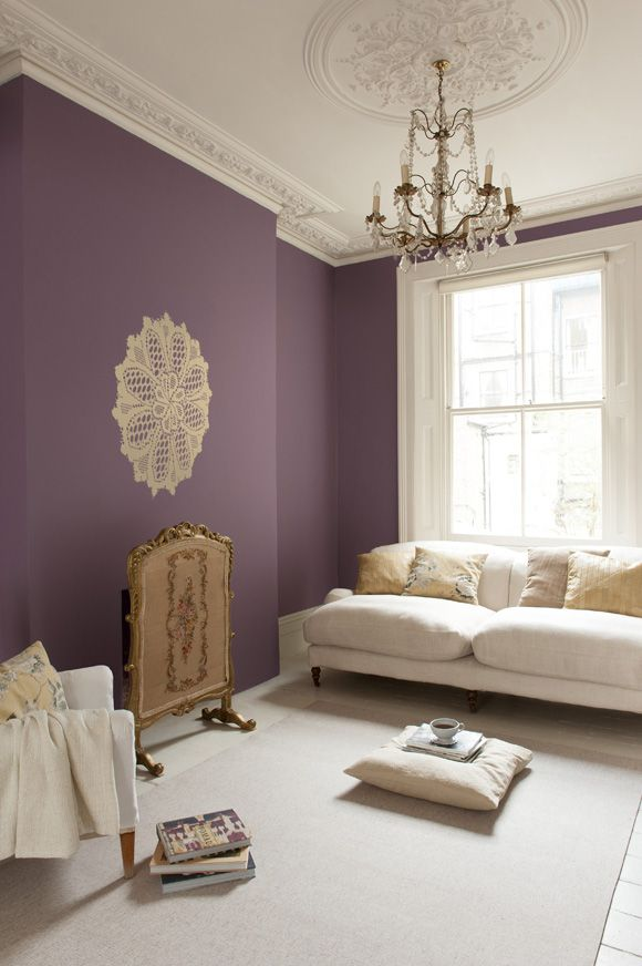 Muted purple walls Add some turquoise and