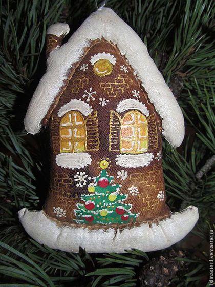 Домик с ёлочкой - коричневый,кофейная игрушка,ароматизированная игрушка
