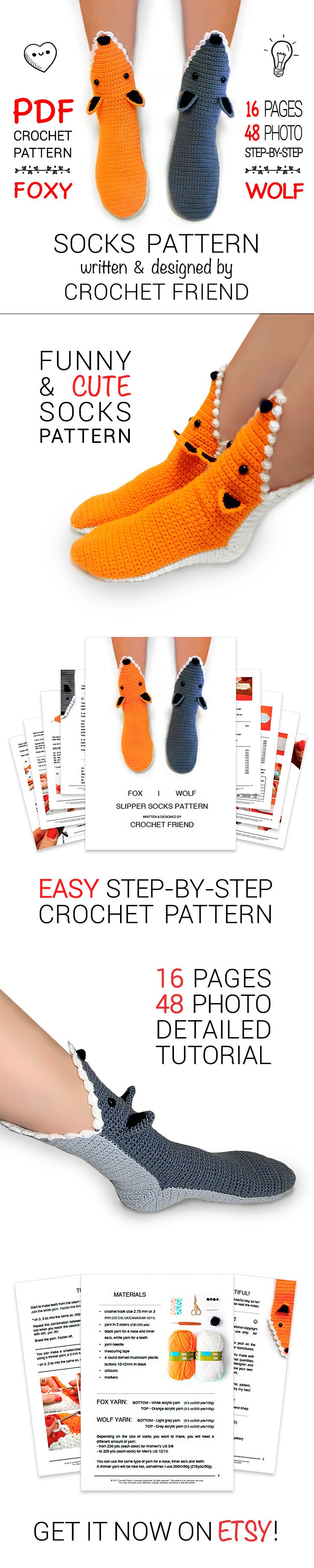 CROCHET PATTERN | Fox & Wolf Funny & Cute Animal Slippers Socks in printable PDF. 16 pages w/ 48 pics. Pattern contains step-by-step tutorial & detailed description ✎ | ✄ CROCHETING SKILLS LEVEL - EASY |⚐ LANGUAGE - ENG | TERMS - US  | ☆ Crochet these cuties by yourself! ☆ GET A PATTERN NOW W/ 25% OFF!  ♡ CROCHET & HAVE FUN! ♡