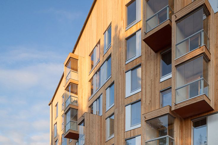 Puukuokka housing block OOPEAA completed the first of an energy-efficient trio of multi-story timber-framed flats – the first of this kind built in Finland – that will visually enhance the townscape while offering affordable, eco-efficient housing.