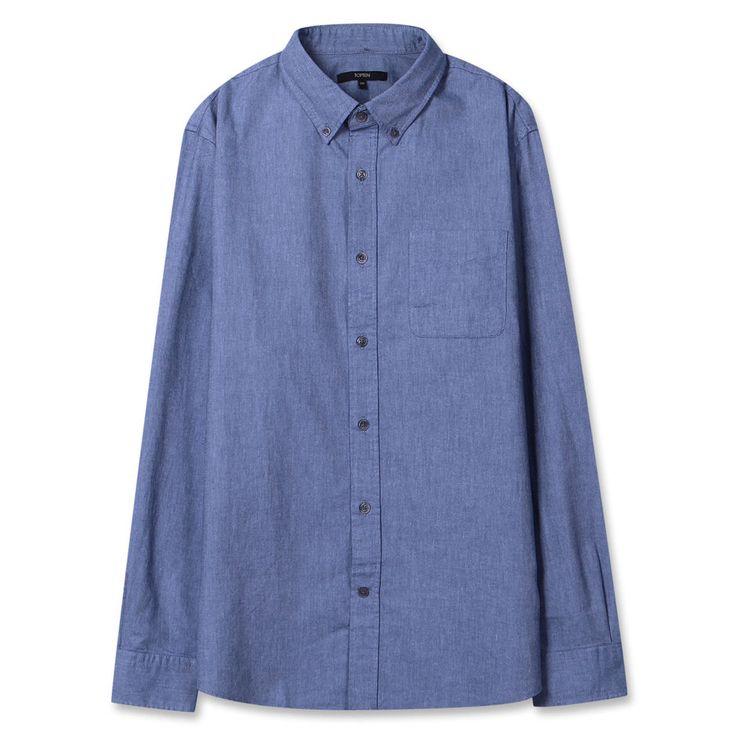 Topten10 Unisex Oxford Buttondown Modern Blue Solid Formal Cotton Dress Shirts #Topten10