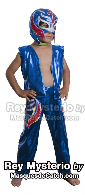 Kids Rey Mysterio Costume outfits & pants blue Premium quality Rey Mysterio Kid Costume Combo including: - Rey Mysterio Mask - Vest - Pants with two faces like decorations  #fancydress #costume #superhero #kids