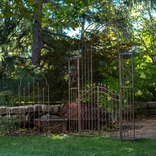 Belham Living Gated Hodgson Garden Metal Arbor with Matching Trellis - Arbors at Hayneedle