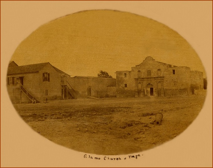 """""""Alamo Church & Plaza,"""" 1858? One of the earliest photo's of the Alamo. Apparently the Smithsonian Institute has an earlier photo than this one that was dated at 1854."""