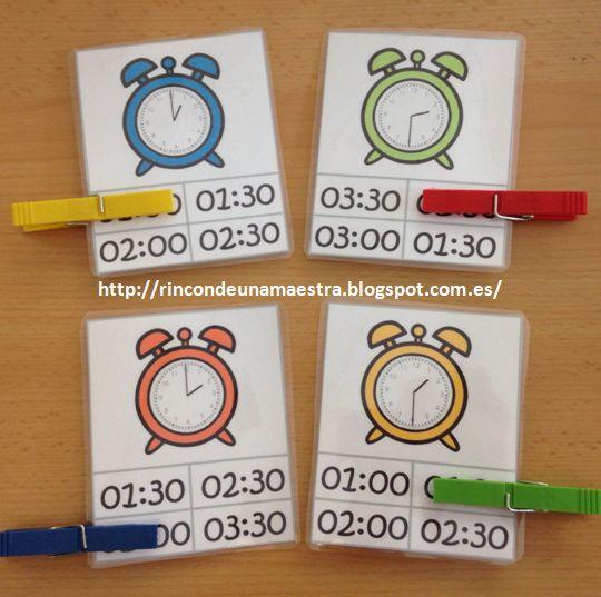 Rincón de una maestra: Tarjetas relojes HORA EN PUNTO E Y MEDIA