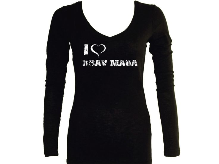I love heart KRav Maga distressed print black v neck women or junior sleeved t-shirt by mycooltshirt on Etsy