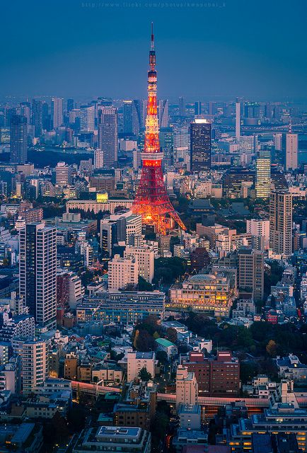 Tokyo Tower, Japan 東京タワーI'll never forget the first time i got in Tokyo about 2 years ago. The night view of this place is amazing and I had the oportunity to be very close to this building. This is exactly the same view I had from my room! It's like if my eyes've taken this photo!