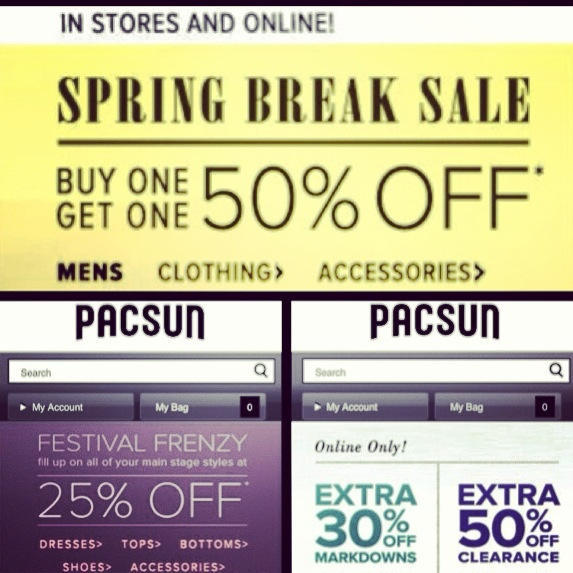 Deal Alert (US): Pacsun Spring Break Special Buy 1 Get 1 50% Off. Festival Frenzy Main Styles 25% Off. Online Only Extra 30% Off Markdowns or Extra 50% Off Clearance. Happy Shopping! #deal #alert #pacsun #springbreak #bogo #markdowns #clearance #online #clothing #fashion #styles